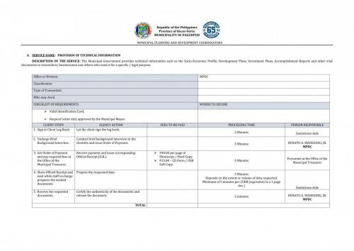 PROVISION OF TECHNICAL INFORMATION