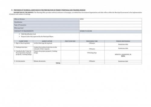 PROVISION OF TECHNICAL ASSISTANCE IN THE PREPARATION OF PROJECT PROPOSALS AND TRAINING DESIGNS